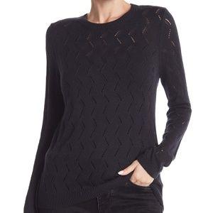 14th & Union Pointelle Black Crew Sweater Small